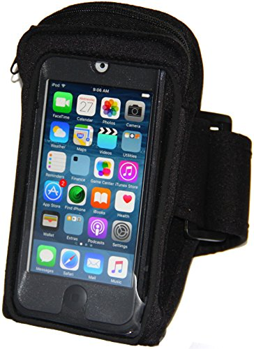 Armband for iPod Touch 6th Generation (6G) fits Otterbox Commuter & Defender Case + Armband Extender (Black) - Apple Ipod Touch Sports Armband