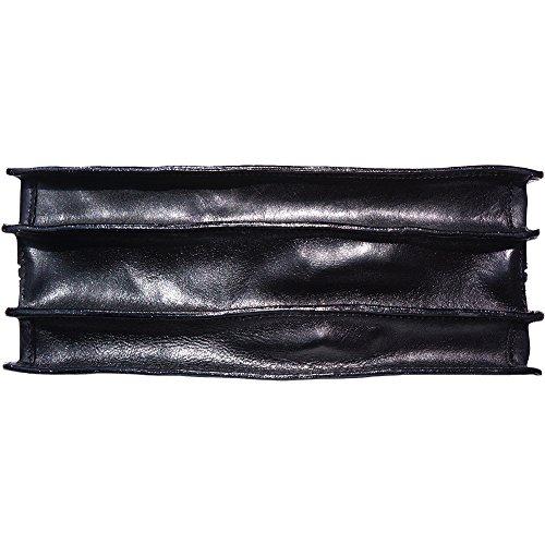 Cartera de cuero 3 compartimientos 7603 Negro