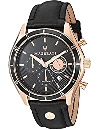 Men's 'Sorpasso' Quartz Stainless Steel and Leather Fashion Watch, Color:Black (Model: R8871624001)