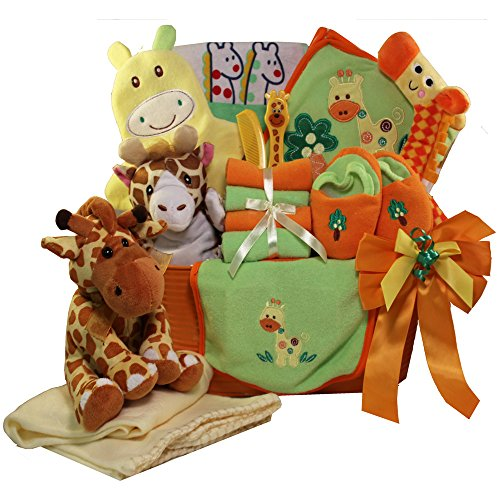 Art of Appreciation Gift Baskets Jessie The Giraffe Baby Gift Basket, (Neutral Boy or Girl)