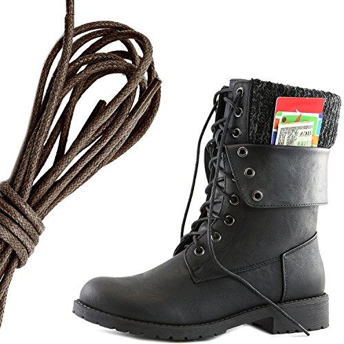 Botas De Combate De Cordón Militar Con Cordones Militar Para Mujer DailyZapatos Bolsillo De Tarjeta De Crédito Exclusivo Con Terciopelo De Terciopelo, Terciopelo Y Pu De Color Marrón Oscuro