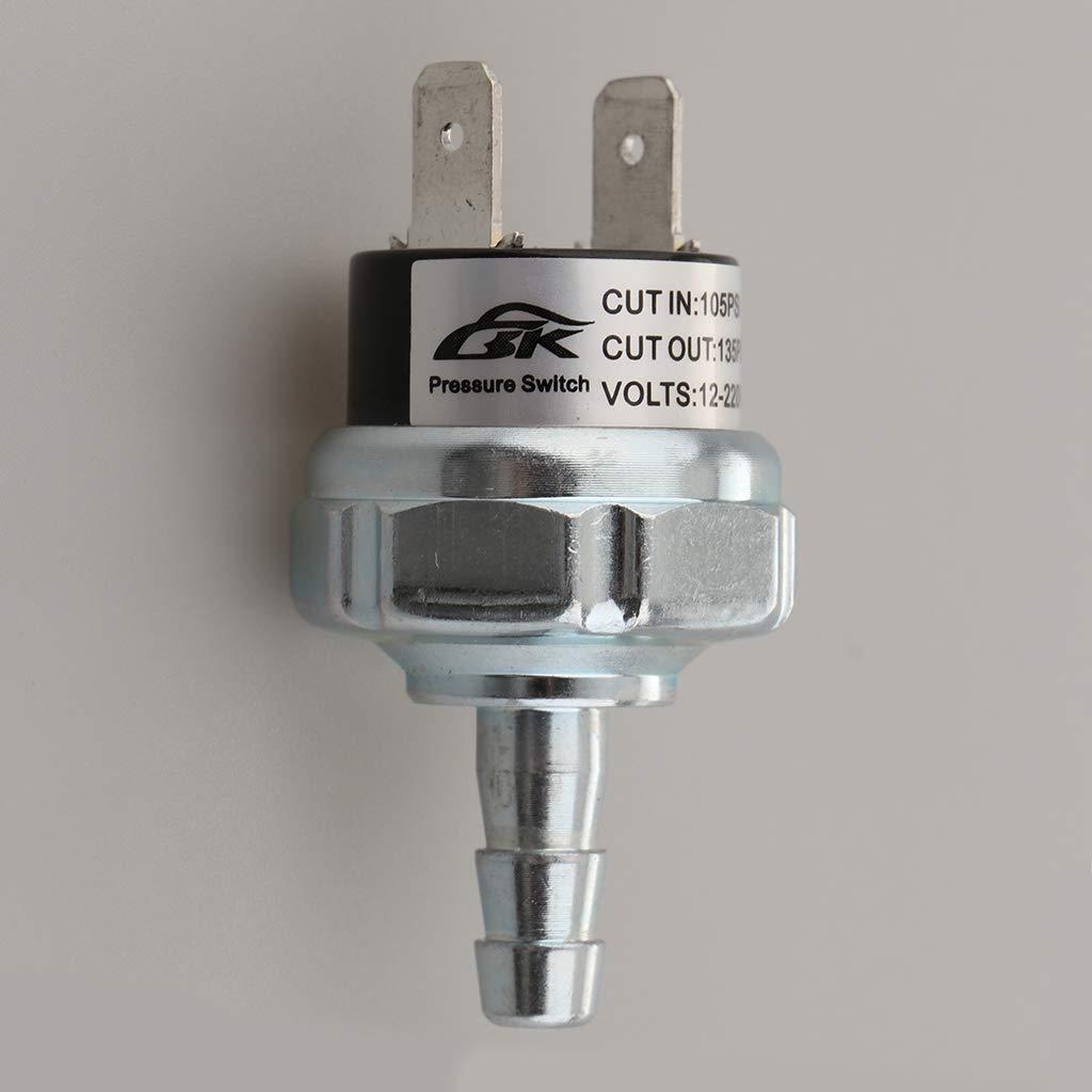 Almencla Heavy Duty Alloy 105-135 PSI Air Pressure Control Switches Control Valve 12// 22Voltage