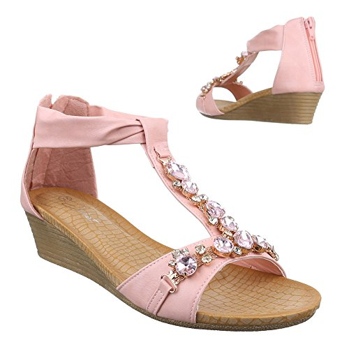 Ital-Design Damen Schuhe, JU-60, Sandaletten Keil Wedges mit Steinchen Rosa