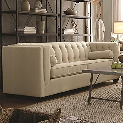 Coaster Cairns Contemporary Sofa With Tufted Back And Lumbar Pillows Oatmeal