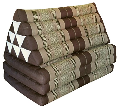 Thai triangle cushion/mattress XXL, with 3 folding seats, brown, sofa, relaxation, beach, pool, meditation, yoga, made in Thailand. (82418) by Wilai GmbH