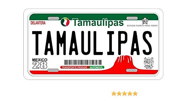 "Tamaulipas Mexico Aluminum License Plate Placa 6/"" x 12/"""