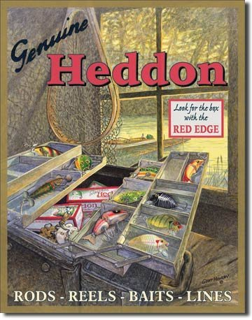 - MMNGT Heddon Fishing Tackle Box Lures Tin Sign Poster TIN Sign 7.8X11.8 INCH
