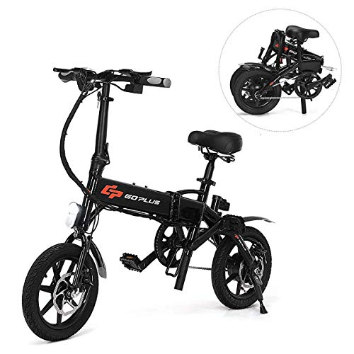 Goplus Folding Electric Bicycle Portable E-Bike with 22 Mile Range, 250W 36V Motor and Dual Disc Brakes, Collapsible Frame, Pedal-Assist and LED Monitor Display (Portable)