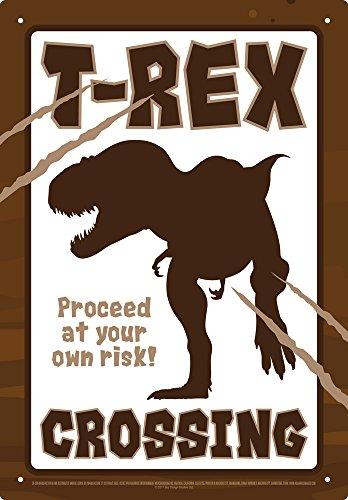 Aquarius Smithsonian T-Rex Dinosaur Crossing Tin Sign 8 x 11.5