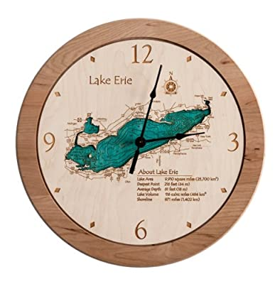 Wolf Lake 2D Laser Carved 14.5 inch Clock Map - Sullivan - NY