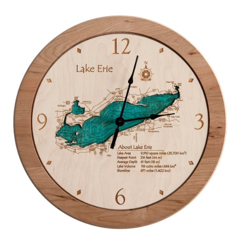 Bowman Lake - Glacier County - MT (Proof Required) - 2D Clock 14.5 in - Laser Carved Wood Nautical Chart and Topographic Depth ()