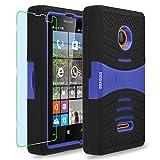 Microsoft Lumia 435 Case, INNOVAA Turbulent Armor Case W/ Free Screen Protector & Stylus Pen - Blue/Black