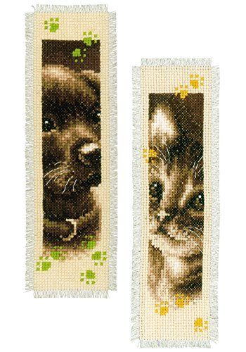 Vervaco Bookmark Cat and Dog Cross Stitch Kit, Set of 2 by V