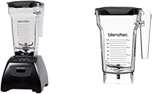 Blendtec Classic Fit Blender with FourSide Jar (75 oz), 30-sec Pre-programmed cycle, Black & FourSide Jar (75 oz), Four Sided, Professional-Grade Blender Jar, Vented Latching Lid, BPA-free, Clear