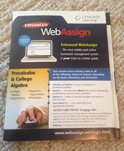 Enhanced Web Assign Precalculus and College Algebra