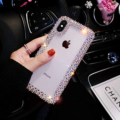 new product c08a5 4d6ea iPhone XR Diamond Case, iPhone XR Glitter Case, Handmade Crystal Butterfly  Flowers Rhinestone Diamond with Clear Hard Case Cover for iPhone XR ...