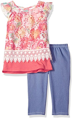 Nannette Toddler Girls' 2 Piece Printed Lace Top With Knit Denim Jegging Set, Pink, 2T Jean 2t 4t Sets