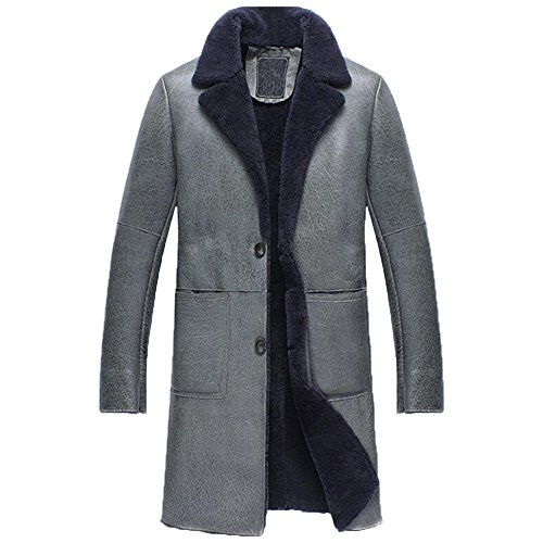 Denny&Dora Leather Shearling Jacket Long Leather Coat Military Style Sheepskin Fur Coat Exposed Shearling Notched Collar (Grey Blue, XS) (Fur Collar Coat Notched)