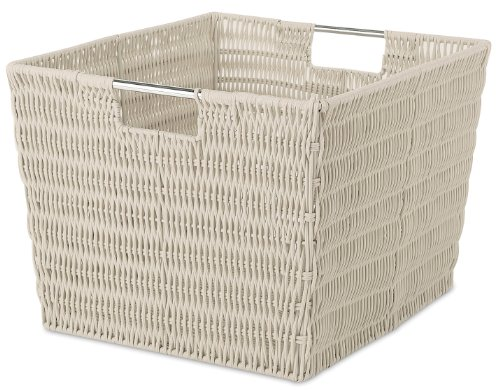 Whitmor Rattique Storage Tote, Latte (Wicker Cube)