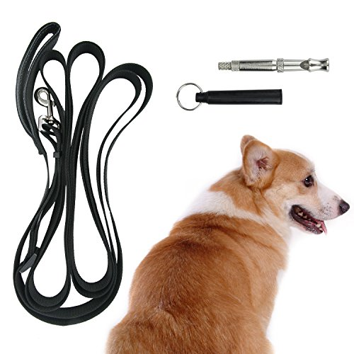16FT Long Dog Leash - Adjustable Length Design Training Lead Leash with Dog Ultrasonic Whistle -  Extra Long Leash Nylon Leash Large Leash For Large Dogs Medium Dogs Small Dogs
