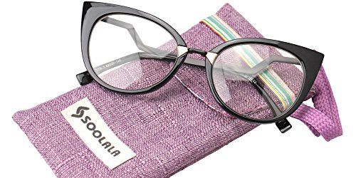 SOOLALA Womens 53mm Lens Vintage Unique Ladder Arm Cat Eye Reading Glass, Black, - Glasses Online Cat Eye Cheap