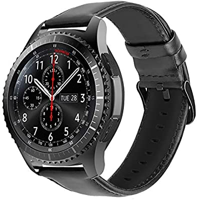 iBazal 22mm Correas Cuero Piel Pulseras Bandas Compatible con Samsung Galaxy Watch 46mm,Gear S3 Frontier Classic,Huawei GT/2 Classic/Honor ...