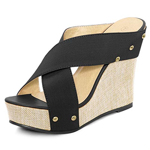 Allegra K Women's Open Toe Linen Platform Slide Wedge Black Sandals - 7.5 M (Black Wedge Slide)