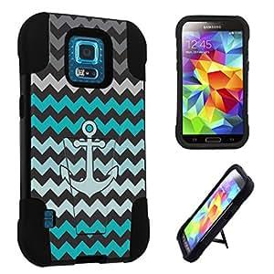 DuroCase ? Samsung Galaxy S5 Sport SM-G860P Sprint ONLY (2014 Released) Kickstand Bumper Case - (Mint Black Chevron Anchor)