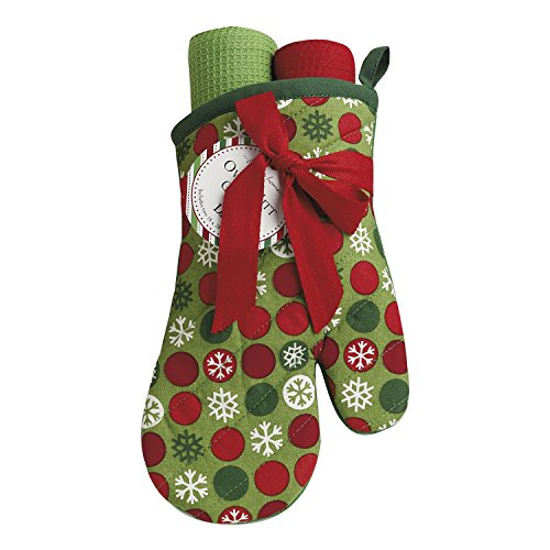 DII Cotton Christmas Holiday Oven Mitt and Dish Towels Gift Set, Perfect for Kitchen Cooking and Baking-Snowflake