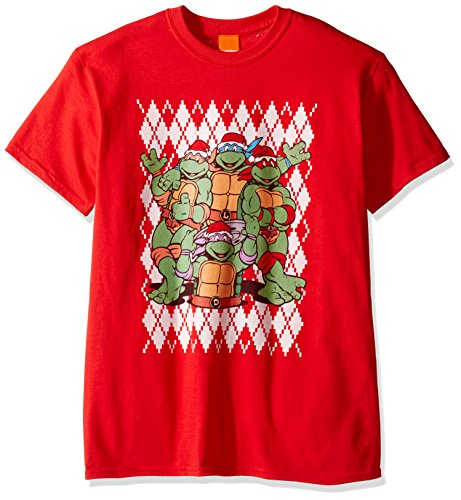 Argyle Print Tee (Nickelodeon Men's TMNT Argyle Ugly Christmas T-Shirt, Red, Medium)