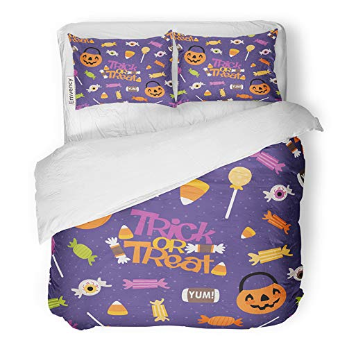 (Emvency 3 Piece Duvet Cover Set Brushed Microfiber Fabric Breathable Trick Treat Candy Pattern Perfect Halloween Kids and Projects Bedding Set with 2 Pillow Covers King)