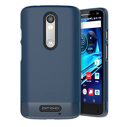(Encased Motorola Droid Turbo 2 Case, (SlimSHIELD Edition) Ultra Slim Cover (Full Coverage) Hybrid Slider Shell (Deep Blue))