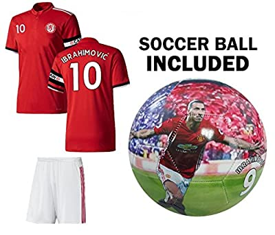 ZLATAN IBRAHIMOVIC Jersey #10 Youth Soccer Jersey + Shorts + BALL = PREMIUM GIFT Kids Boys Girls Size 5 Football Ibrahimovich #10