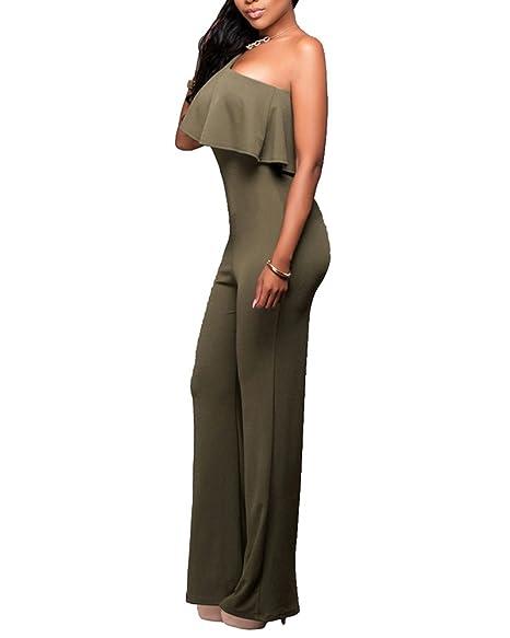 7fc2541045f3 Donna Jumpsuit Pantaloni Lunghi Playsuit Tuta Eleganti Vestiti Senza  Spalline Tute da Cerimonia Esercito Verde 3XL