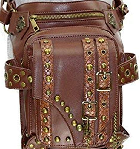 PU Leather Rivets Fanny OMAS Leg Unisex Bags Drop Belt Punk Waist Steampunk REq55