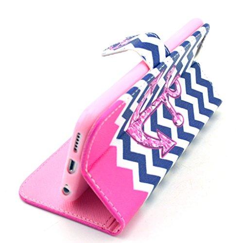 PowerQ [ para IPhone6 IPhone 6 6G - X-12 ] PU Funda Serie bolsa Modelo colorido con bonito hermoso patrón de impresión Impresión Dibujo monedero de la cartera de la cubierta móvil del bolso del teléfo X-21