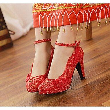 Zormey Women'S Heels Spring Fall Pu Wedding Chunky Heel Flower Red Red Us6 / Eu36 / Uk4 / Cn36 US6 / EU36 / UK4 / CN36