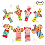 FunsLane 8 Packs Baby Rattle - Baby Wrist Rattles and Foot Finder Socks Set - Educational Development Soft Animal Toy Shower Gift with Monkey - Elephant - Puppy and Piggy