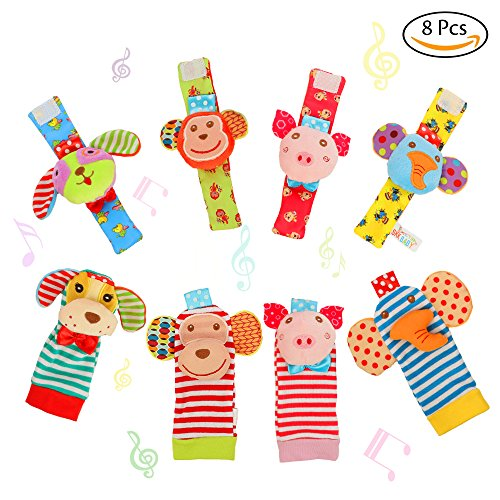 FunsLane 8 Packs Baby Rattle, Baby Wrist Rattles and Foot Finder Socks Set, Educational Development Soft Animal Toy Shower Gift with Monkey, Elephant, Puppy and Piggy