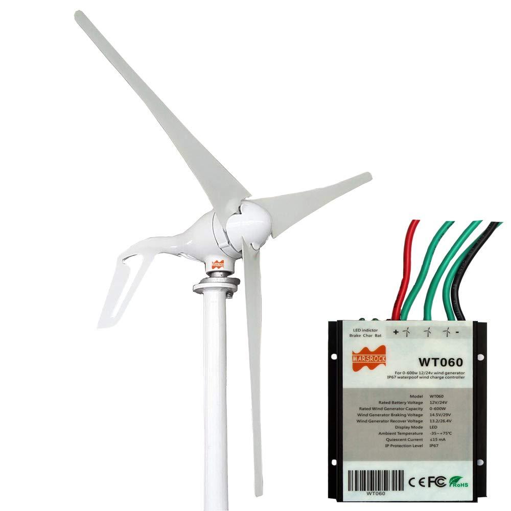 MarsRock Small Wind Turbine Generator AC 12Volt or 24Volt,400W Economy  Windmill for Wind Solar Hybrid System 2m/s Start Wind Speed 3 blades  (400Watt