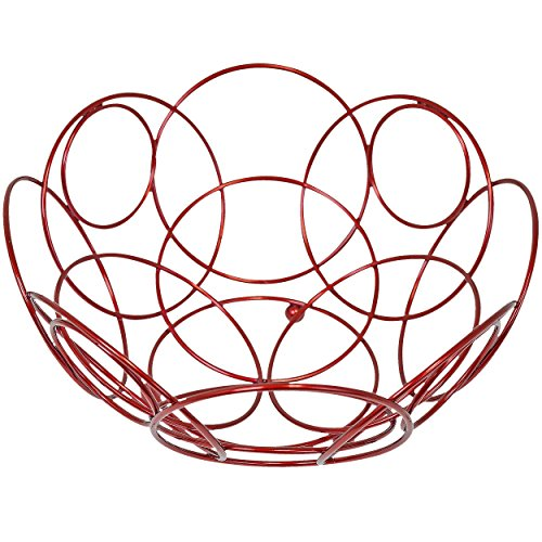 Southern Homewares SH-10205 Fruit Basket Round Decorative Bowl for Kitchen Counter Red Color 10 3/8-inch Diameter