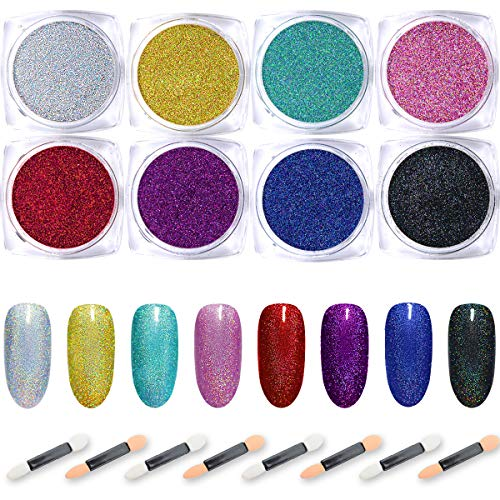 Nail Powder Wenida 8 Colors 2g/Jar Premium Laser Synthetic Resin Powder Manicure Art Decoration With 8pcs Eyeshadow Sticks ()