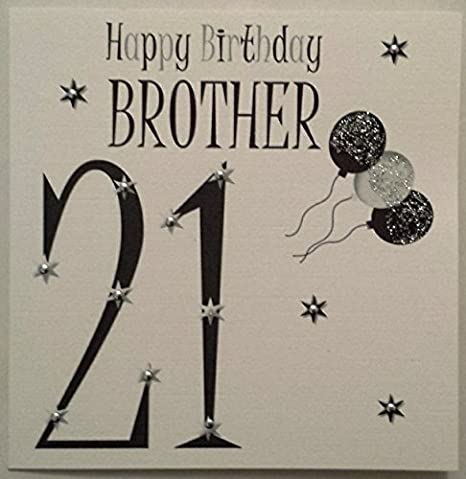 Amazon Happy Birthday Card Black White Balloons Brother