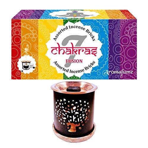 Aromafume 7 Chakra Incense Bricks Variety Box (14Pcs) & Tree Exotic Incense Diffuser Multi Color ()