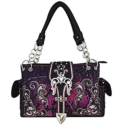 Camouflage Crown Buckle Western Style Concealed Carry Purse Country Handbag Women Shoulder Bag Wallet Set