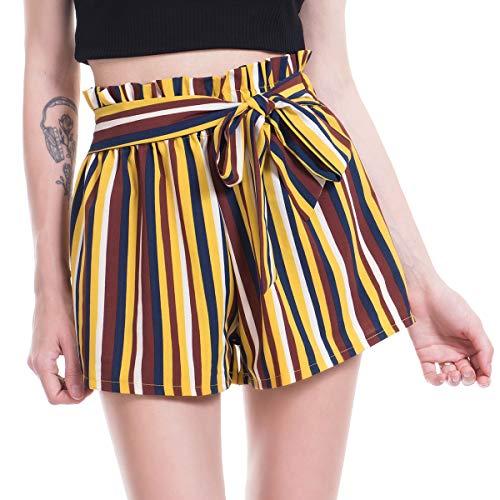 - Amormio Women's Casual Polka Dot Ruffle Bow-Tie Elastic Waist Summer Beach Jersey Walking Shorts (Yellow, Small (US=0-2))