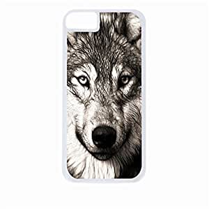 Grey Wolf- Hard White Plastic Snap - On Case-Apple Iphone 5 - 5s - Great Quality!