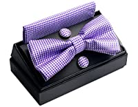 OUMUS Pre-Tied Bow Tie / Pocket Square & Cufflinks Gift Set