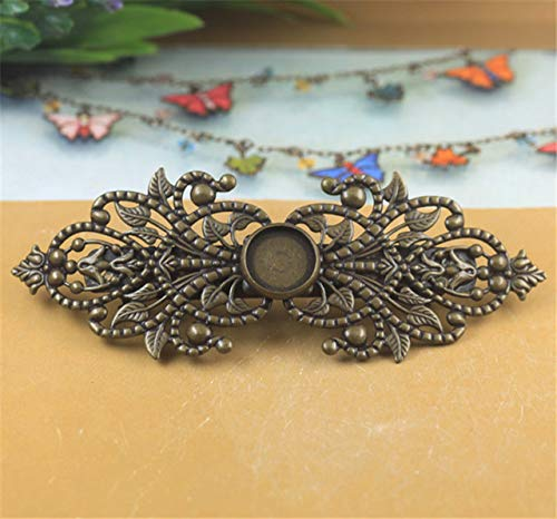 Laliva 2pcs Copper Brass Hollow Filigree Flower Spring Barrette French Hair Clip Hairpins Round Cabochon Base 12mm DIY Headwear Craft - (Color: 1)