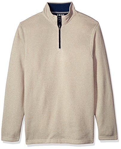 - IZOD Men's Tall Saltwater Solid 1/4 Zip Sweater, Rock Beige Heather, 2X-Large Big